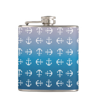 Gradient blue pink | nautical anchor pattern hip flask