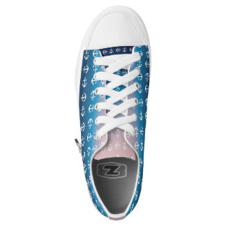 Gradient blue pink | nautical anchor pattern low tops