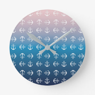 Gradient blue pink | nautical anchor pattern round clock