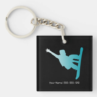 gradient blue snowboarder key ring