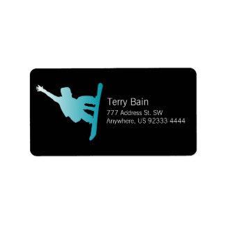 gradient blue snowboarder label