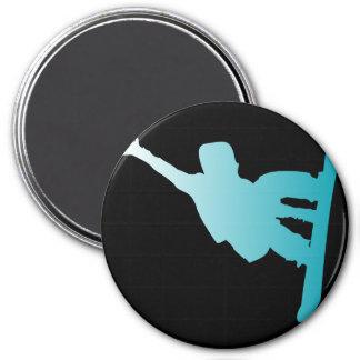 gradient blue snowboarder magnet
