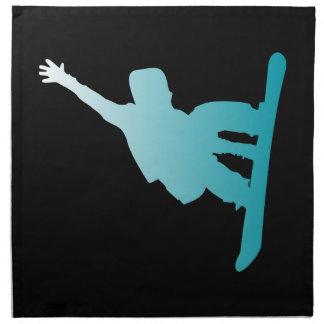 gradient blue snowboarder napkin