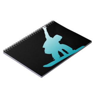 gradient blue snowboarder notebook