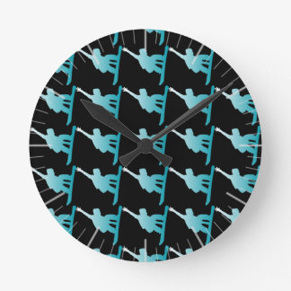 gradient blue snowboarder round clock
