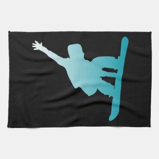 gradient blue snowboarder tea towel