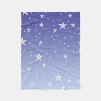 Gradient blue white stars pattern fleece blanket