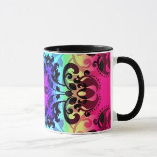Gradient damask pattern cute and colorful mug