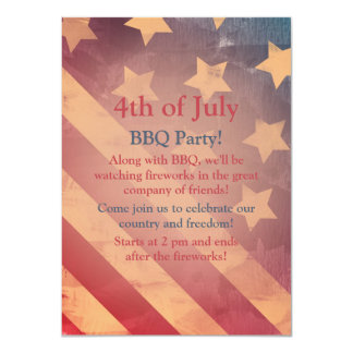 "Gradient Flag 4th of July Party Invitation 4.5"" X 6.25"" Invitation Card"
