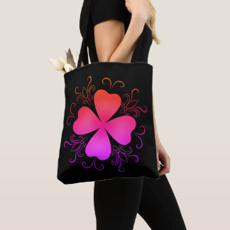 Gradient girly shamrock tote bag