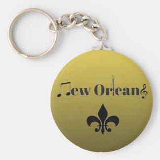 Gradient Gold New Orleans Jazz Music Keychain