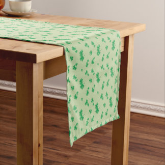 Gradient Green Irish Shamrock Pattern Short Table Runner