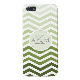 Gradient Green Monogram Chevron Stripe Iphone Case iPhone 5/5S Cases