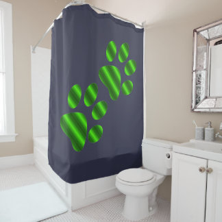 Gradient Green Paws Shower Curtain