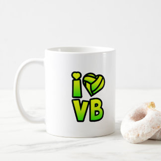 Gradient Green Yellow Text - I Love Volleyball Coffee Mug