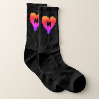 Gradient heart monogram large socks