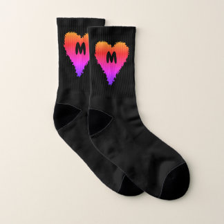 Gradient heart monogram small socks
