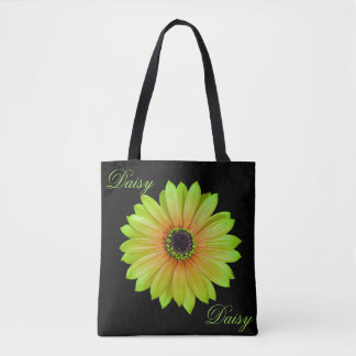Gradient Lime Daisy Tote