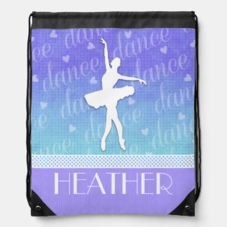 Gradient of Blue - Ballerina Passionate Dancer Drawstring Bag