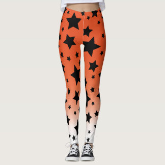 Gradient Orange with Black Star Halloween Leggings