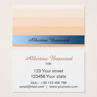 Gradient Peach with Blue Banner Custom Text Business Card