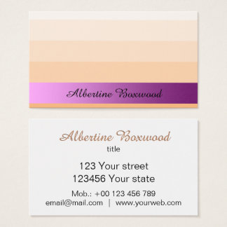 Gradient Peach with Pink Banner Custom Text Business Card