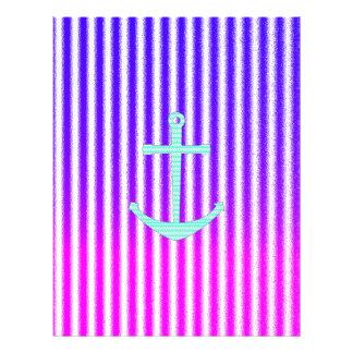 Gradient Pink Blue Teal Nautical Anchor Stripes Flyer Design
