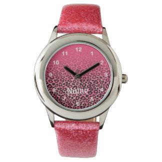 Gradient Pink Leopard Animal Print Watch
