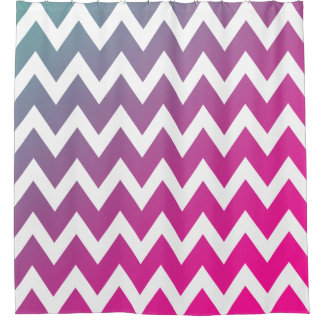 Gradient Pink Purple Blue Chevron Stripes Pattern Shower Curtain