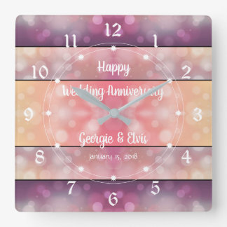 Gradient Purple And Pink Wedding Anniversary Square Wall Clock