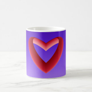 Gradient Purple Background and Gradient Red Heart Coffee Mug