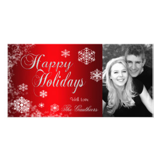 Gradient Red Snowflake Holiday Winter Photo Card
