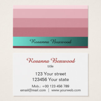 Gradient Rose Red with Teal Banner Custom Text Business Card