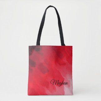 Gradient Shades of Red in Wavy Pattern Tote Bag