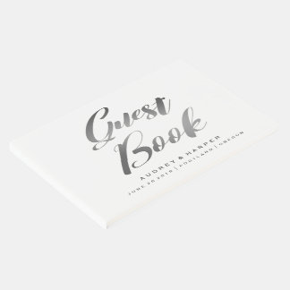 Gradient Silver Grey Simple Personalized Wedding Guest Book