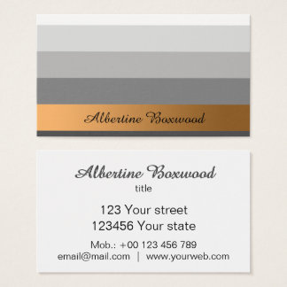 Gradient Silver with Golden Banner Custom Text Business Card