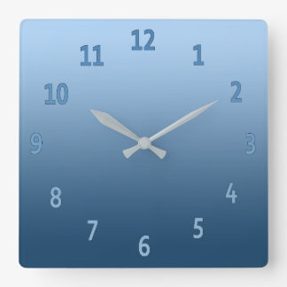 Gradient Simple Colorful Blue Square Wall Clock