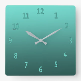 Gradient Simple Colorful Teal Square Wall Clock