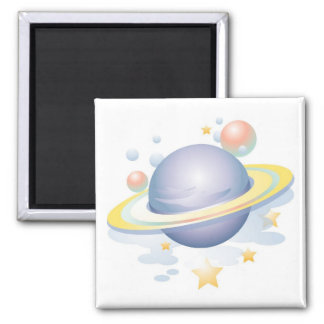 Gradient Style Saturn and Stars Square Magnet