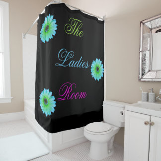 Gradient Teal Daisy Shower Curtain
