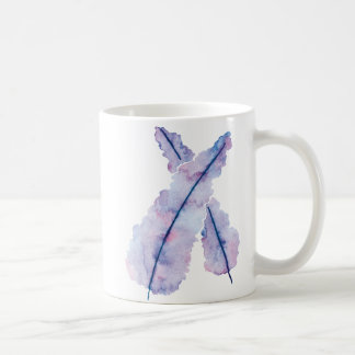 Gradient Watercolor Feathers on Mug