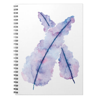 Gradient Watercolor Feathers on Notebook