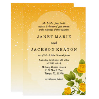 Gradient Yellow Floral Wedding Card