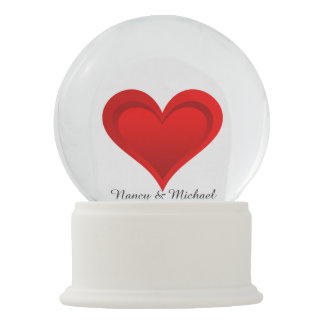 Gradients RED LOVE HEART + your text & ideas Snow Globes