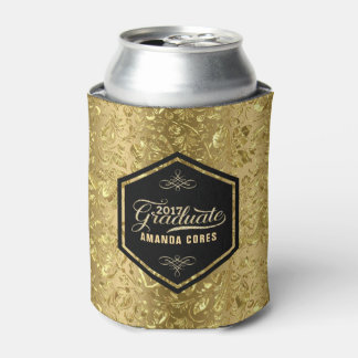 Graduate 2017 Typography & Gold Floral Damasks Can Cooler