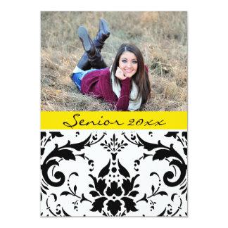 Graduate 20xx Personalised Black & Yello Damask Card