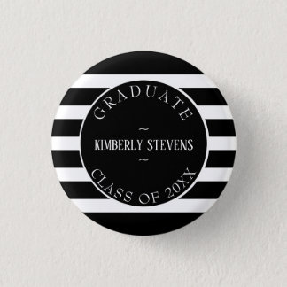 Graduate- Black And White Stripes Pattern 3 Cm Round Badge