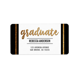 Graduate Calligraphy | Chic Gold Glitter on Black Address Label