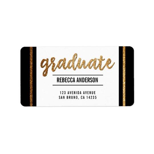 Graduate Calligraphy   Chic Gold Glitter on Black Label