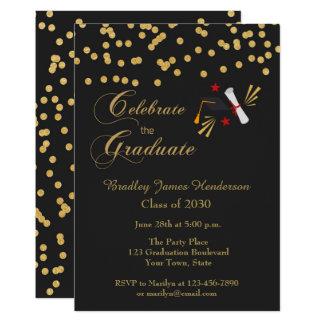 Graduate Celebration Gold Confetti Black Card